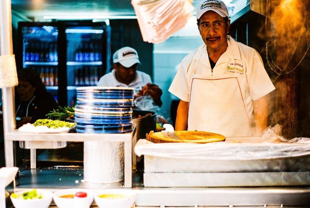 A typical taqueria in Mexico City.