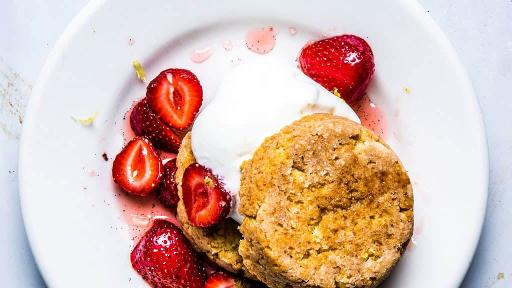 Masa Shortcake with Macerated Strawberries